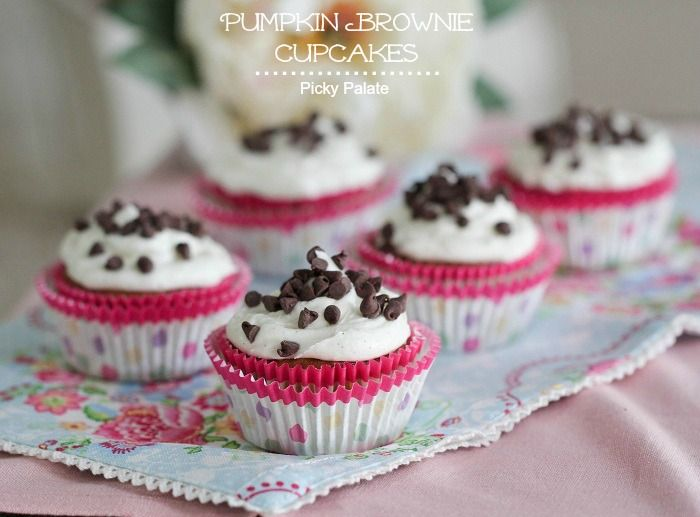 Pumpkin Brownie Cupcakes with Vanilla Bean Buttercream from @Jenny Flake, Picky Palate