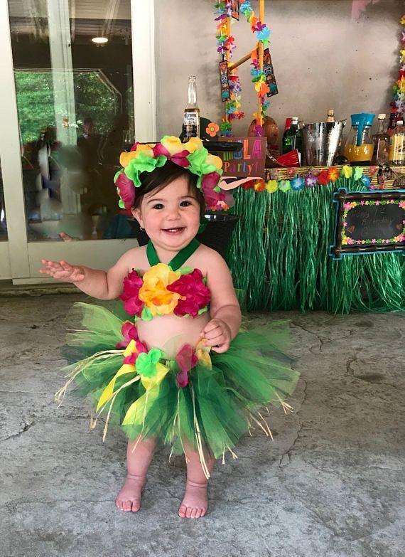 87903f320354 Birthday Luau Outfit - Baby Girl 1st Birthday Outfit - Children's Luau Dress  - Luau First Birthday - Flower Crown