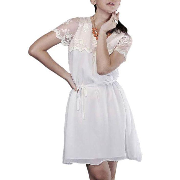 Teabag Pink Lace Dress White