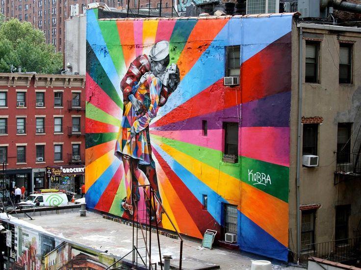 Eduardo Kobra's mural of Alfred Eisenstaedt's photo, V-J Day in Times Square.The Kisses, Time Squares, New York Cities, Street Art Utopia, Murals, Alfred Eisenstaedt, Eduardo Kobra, Eduardokobra, Streetart
