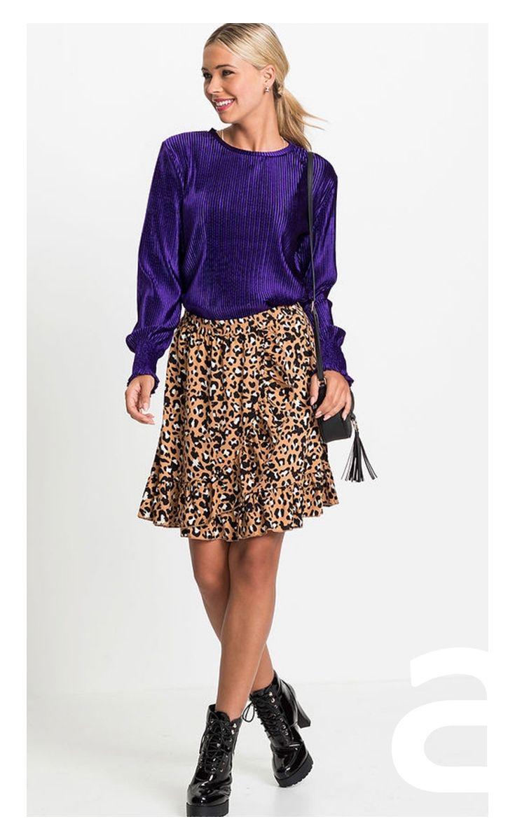 4e3febd5 stylizacja damska, spódnica w panterkę, spódnica rozkloszowana ...