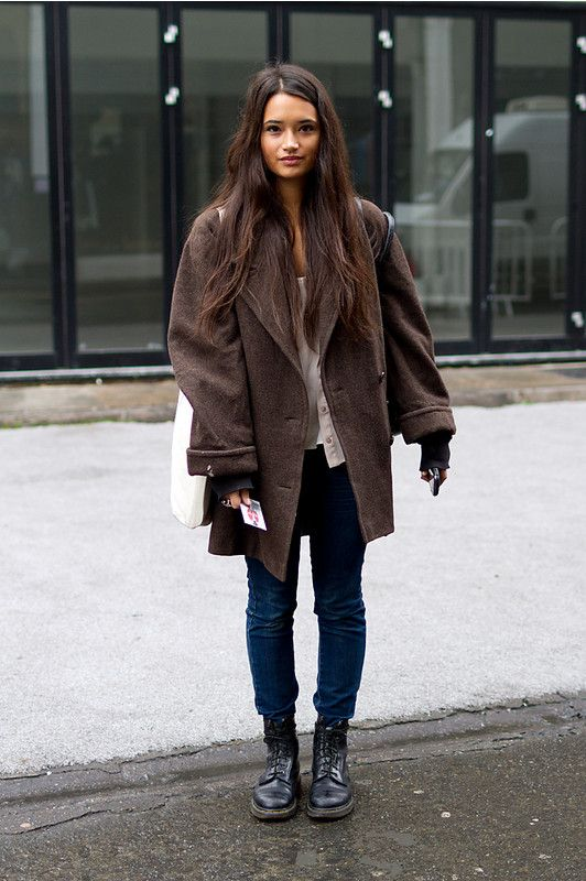 Discover this look wearing Big Coats, Dr Martens Boots - dr martens + big  coat by LumpySpace styled for Comfortable, Shopping in the Winter