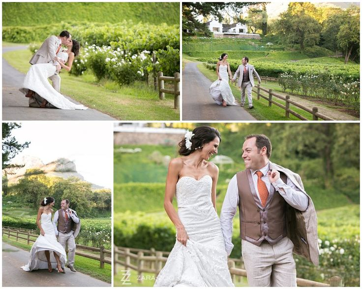 Wedding photos taken at Molenvliet Wine Estate in Stellenbosch.  Couple having fun while walking along farm road.  See more of this wedding on our blog http://www.zara-zoo.com/blog/fresh-wedding-ideas-molenvliet/