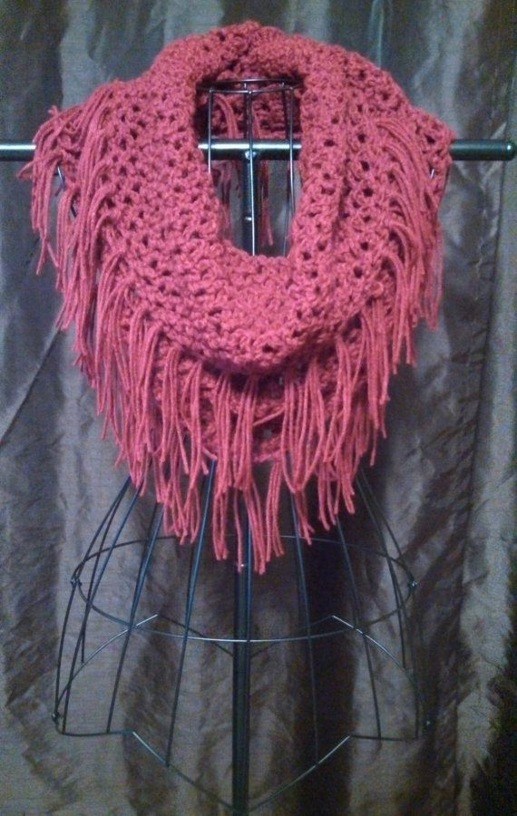 Crochet Fishnet Infinity Scarf With Fringe By