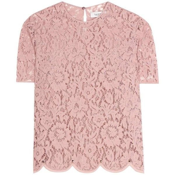 Valentino Lace Top found on Polyvore featuring tops, blouses, shirts, pink, lacy shirt, lace blouse, valentino blouse, shirt blouse and pink blouse