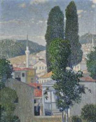 Τοπίο από την Καβάλα, 1904, λάδι σε καμβά  του Κωνσταντίνου Παρθένη και του Kimon Loghi στο λεύκωμα της Δανάης Αναστασιάδου (Καβάλα, τέλη 19ου - αρχές 20ου αι.)