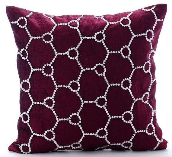 Crystal Jaal  - Crystal Rhinestone Embroidered purple cotton velvet throw pillows.