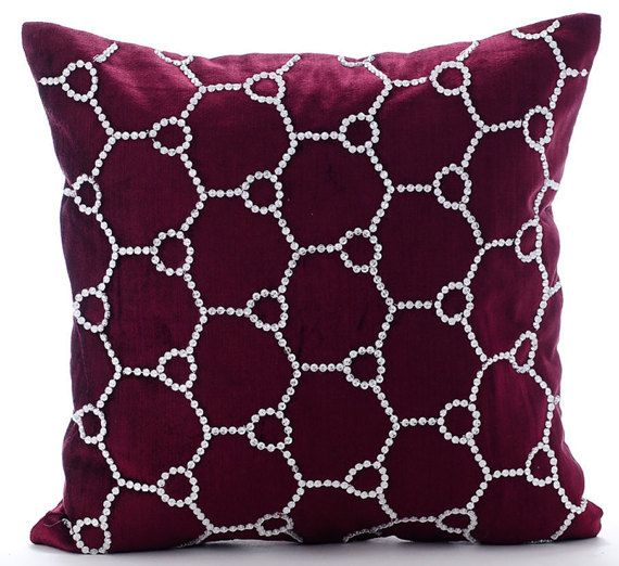 Crystal Jaal  - Crystal Rhinestone Embroidered purple cotton velvet throw pillows.