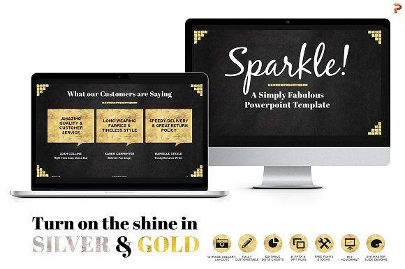 Sparkle Gold Foil PPT Templates by Blixa 6 Studios on @creativemarket