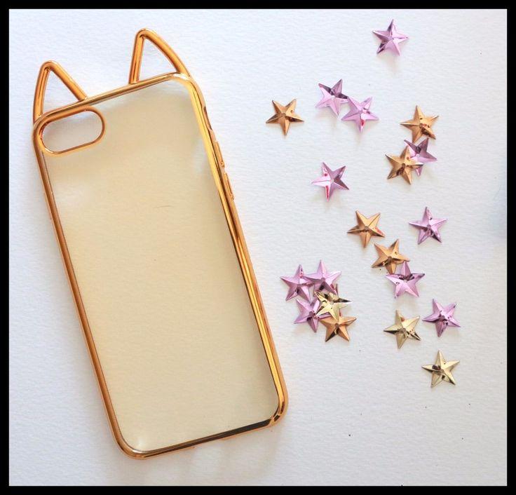 Coque Souple or dore oreilles de chat cat ears iPhone 7 plus 7 + Gold girly