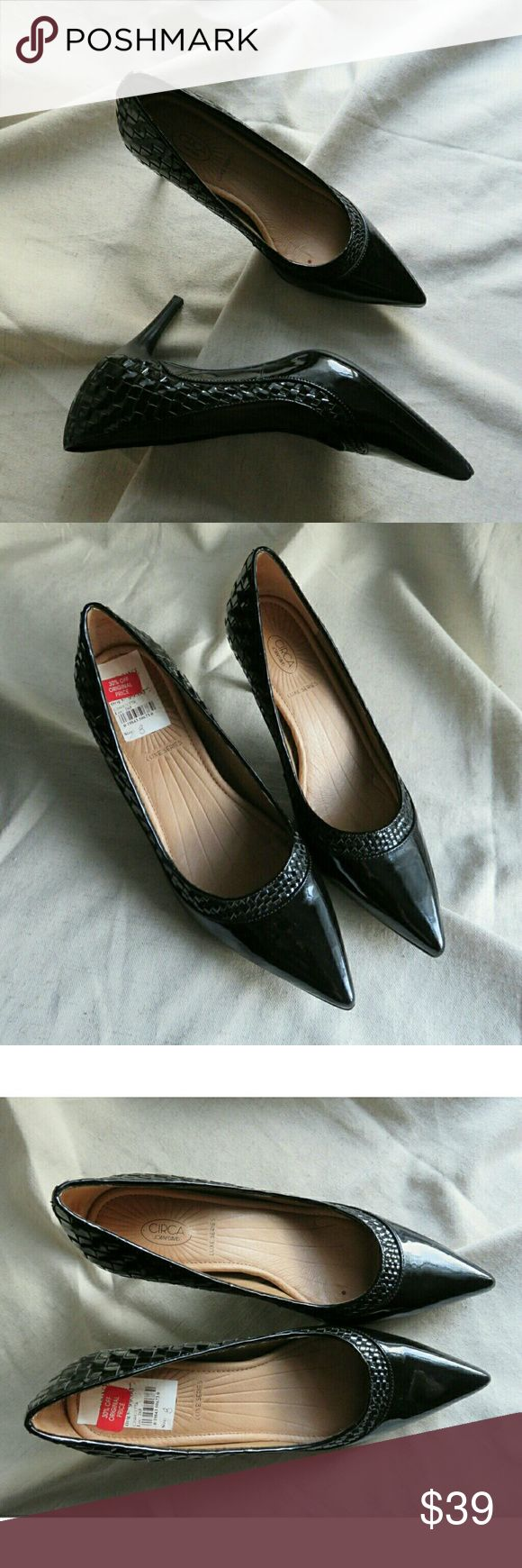 "NWT Joan & David Woven Patent Pumps Black 8 Gorgeous black pumps/ heels from Circa Joan & David, new with tags from Macy's. Stunning woven leather detail around sides and braided around toes. Size 8, genuine patent leather, comfort insoles, heel measures 3"" tall. Packed carefully and shipped fast! Thanks so much, Jen #777 Joan & David Shoes Heels"