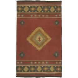 @Overstock.com - Hand-woven Red Southwestern Aztec Fernie Wool Rug (5' x 8') - This hand-woven rug of rich wool proudly sports a bold southwestern pattern to accent your living space. Shades of red, gold, green, aqua, beige and brown bring out the spirit of this area rug. Durable construction promises years of use.  http://www.overstock.com/Home-Garden/Hand-woven-Red-Southwestern-Aztec-Fernie-Wool-Rug-5-x-8/6087975/product.html?CID=214117 $143.61