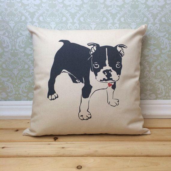 Boston Terrier Pillow Dog Lover Pillow Dog by henhouseoriginals