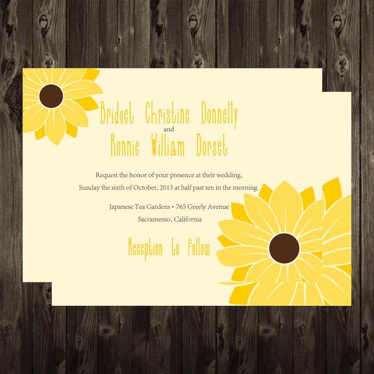 sunflower wedding invitations printable%0A Printable Sunflower Wedding Invitation DIY  X  Digital by onered