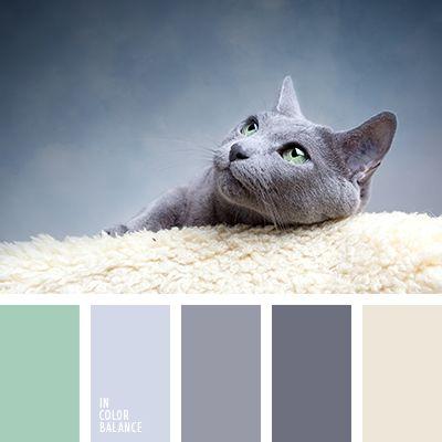 Beige, gris, verde, violeta, azul