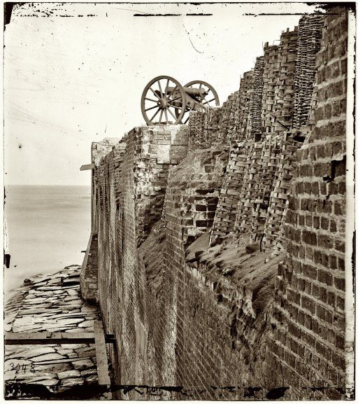 "FT SUMTER Breach patched with gabions on the north wall of Fort Sumter."" From photographs of the Federal Navy, and seaborne expeditions against the Atlantic Coast of the Confederacy, 1863-1865."