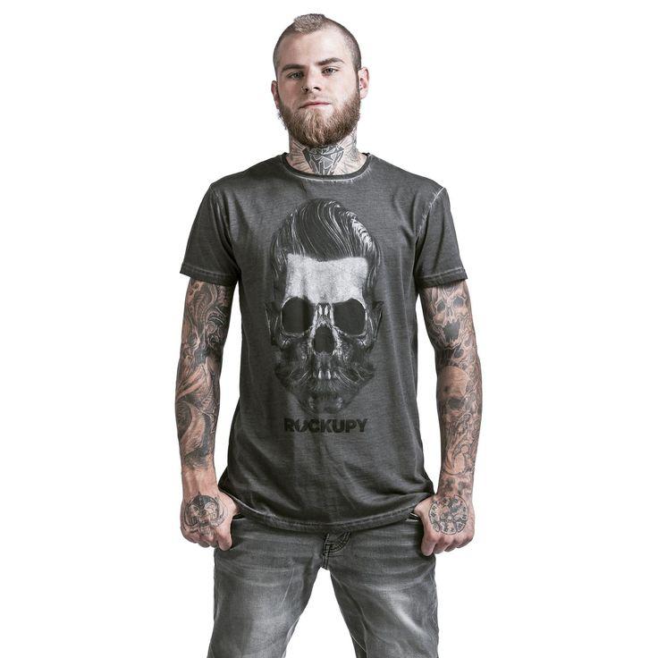 """Classica T-Shirt uomo grigia """"Bearded Skull"""" del brand #Rockupy con scollo tondo, maniche arrotolate, stampa frontale e lavaggio acid."""