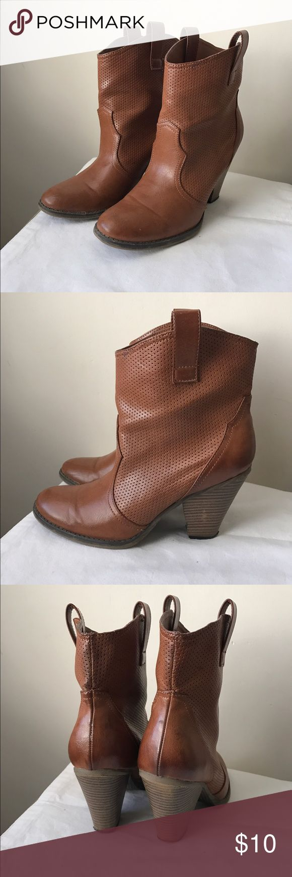 """MIA brown heeled boots Brown vegan leather boots - heeled cowgirl style - super cute! - 3"""" chunky heel - size 8.5 MIA Shoes Heeled Boots"""