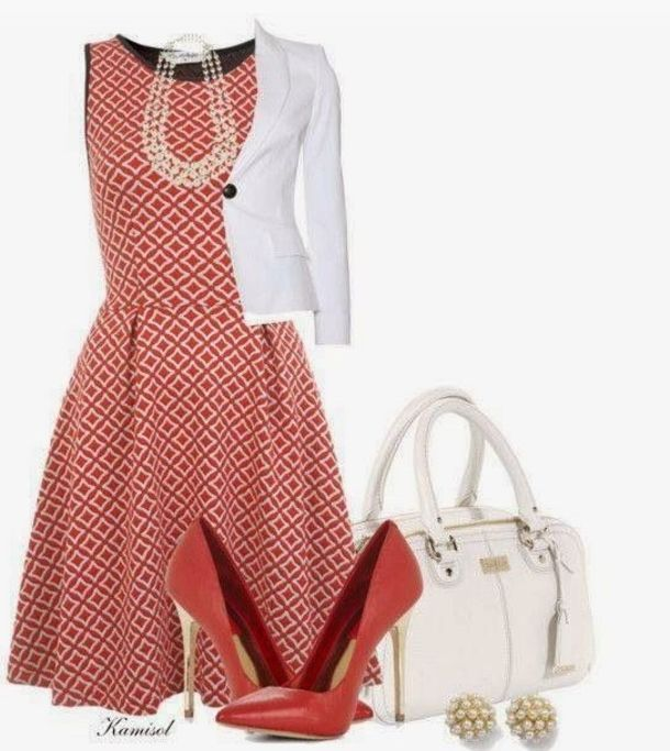 Love the color and design on the dress. Would sway out the blazer for a cardigan…