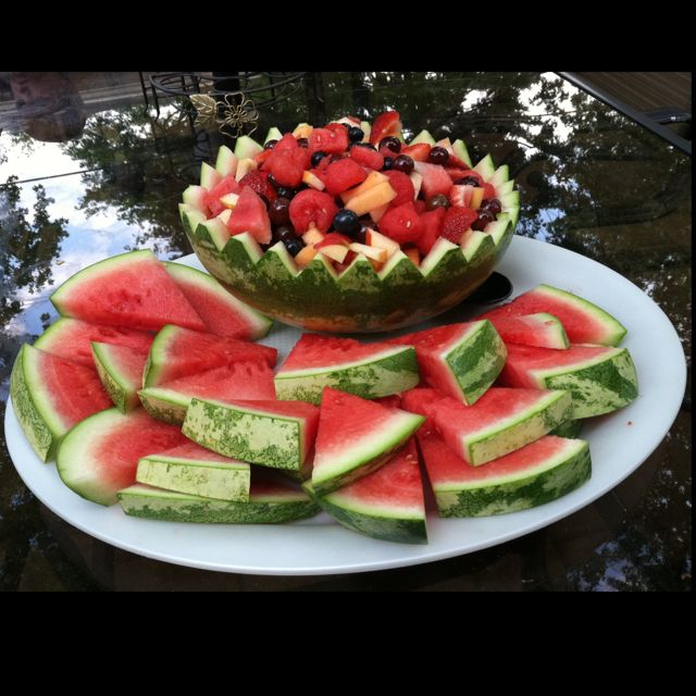 fruit salad in watermelon bowl
