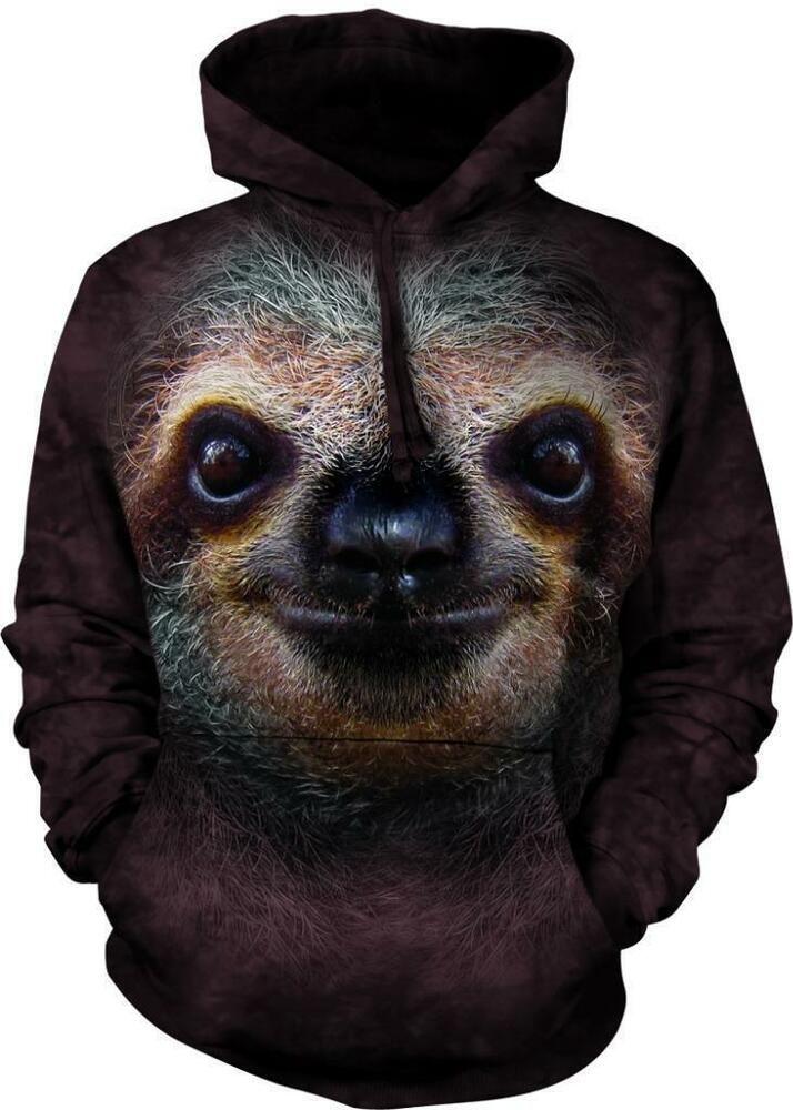 Sloth Face Head Folivora The Mountain Pullover Hoodie Sweatshirt Jacket S-2XL
