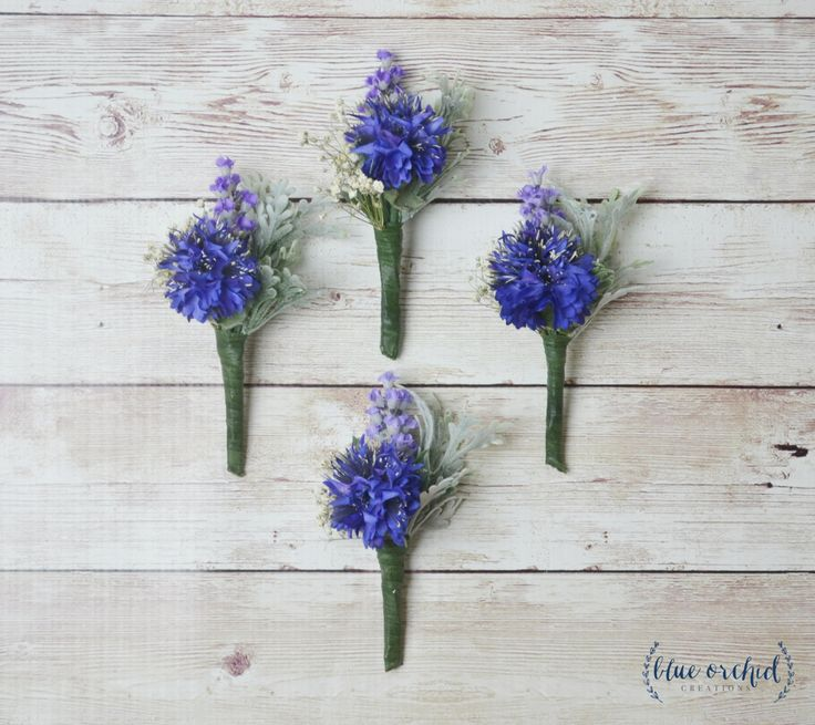 Blue Boutonniere, Silk Flower Boutonniere, Boutonniere, Wedding Boutonniere, Cornflower Boutonniere, Royal Blue, Lavender, Groom, Groomsmen by blueorchidcreations on Etsy