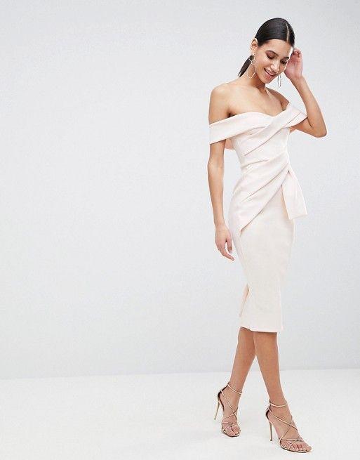 DESIGN Bardot Fold Wrap Front Midi Pencil Dress in 2019  67adc0b76