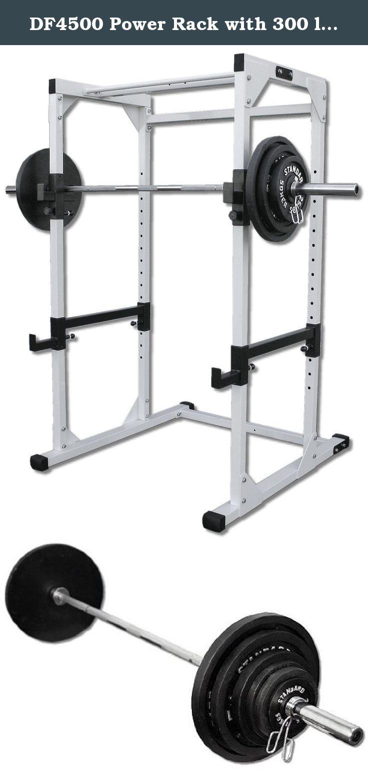 DF4500 Power Rack with 300 lb. Olympic Weight Set. Includes DF4500 Power Rack by Deltech Fitness and 300 lb. Olympic Weight Set. Weight Set includes Two 2.5-lb plates, Four 5-lb plates, Two 10-lb plates, Two 25-lb plates, Two 35-lb plates, Two 45-lb plates, and 7 foot 45 lb Olympic bar (750 lb. Capacity) with Chrome plated spring collars.