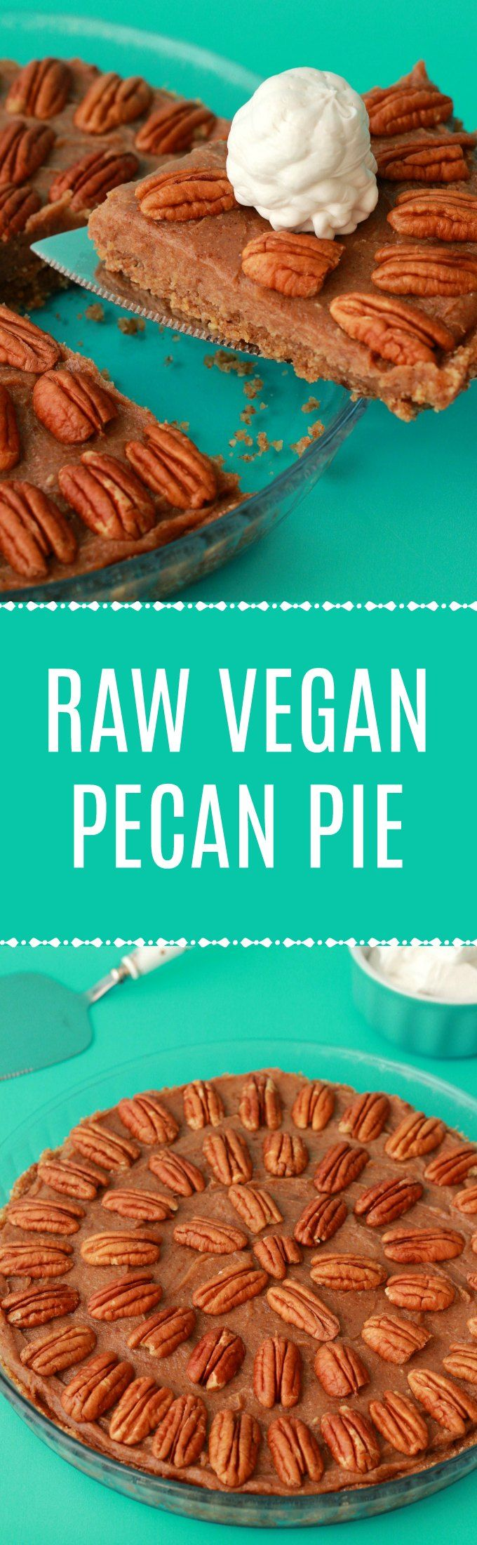 Deliciously raw vegan pecan pie. 3-layers of raw goodness, packed with pecans and pecan flavor, super easy, and divine served with vegan whipped cream! | lovingitvegan.com