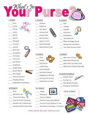 Purse Game: Bridal Shower Games. http://memorablewedding.blogspot.com/2013/12/fun-bridal-shower-games-5-ideas-for.html