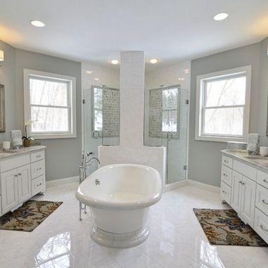 Spa bath featuring Carrara Gris ceramic tile from # ...