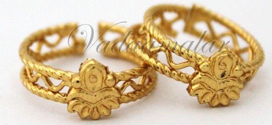 gold toe rings india   Metti Bichiya Micro Gold toned Indian Style Toe Ring Feet Jewelry - 1 ...