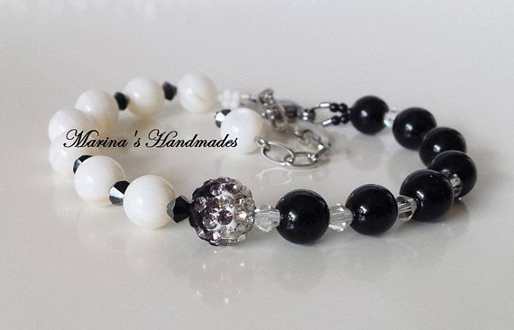 Black Onyx & White Shell Bracelet with Rhinestone bead Boho