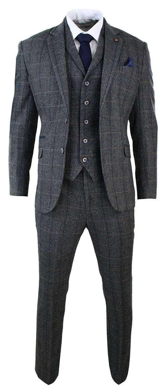 3f44b8468180 Mens 3 Piece Classic Tweed Herringbone Check Grey Navy Slim Fit Vintage Suit:  Amazon.