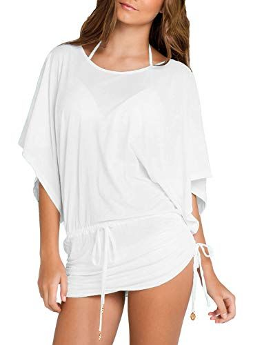 b3176ba595 HOTAPEI Women's Swimsuit Cover up Drawstring Tie Waisted Tie Side Tunic Beach  Dress,#Cover, #Drawstring, #Swimsuit, #HOTAPEI