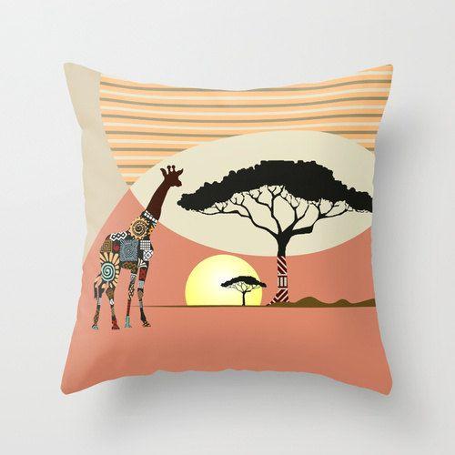 Giraffe Art Pillow, African Safari Pillow, Afrocentric Decorative Throw Pillow…