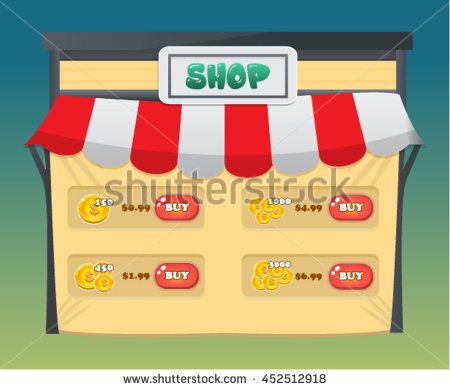Shop Pop Up Game Asset Screen - Reskin - stock vector