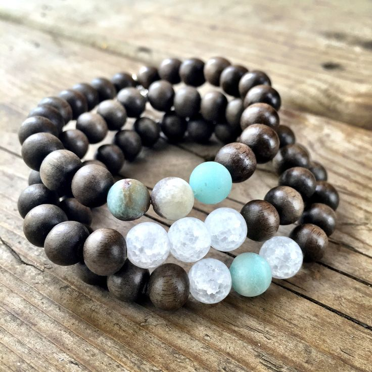 GRAYWOOD SEA STACK Stack of 3 stretch bracelets with Amazonite & Quartz accents.  These colours remind us of the sea~  http://www.karmaladesigns.bigcartel.com/