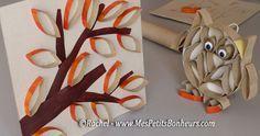 Tubes de rouleaux de papier WC : tableau avec un arbre d'automne - tuto