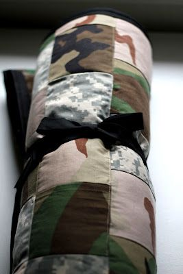 """""""Quilt made from military BDU's."""" So cool! This is a great service idea  would be an fun way to get children learning how to sew  teach them to help others. You could use patriotic fabrics too when they come out on pre-sale in a couple of months before summer. My younger siblings did this for the VA hospital."""