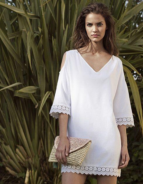 Vestido algodón guipur | VESTIDOS | REBAJAS HASTA -70% | SHOP ONLINE BLANCO.COM