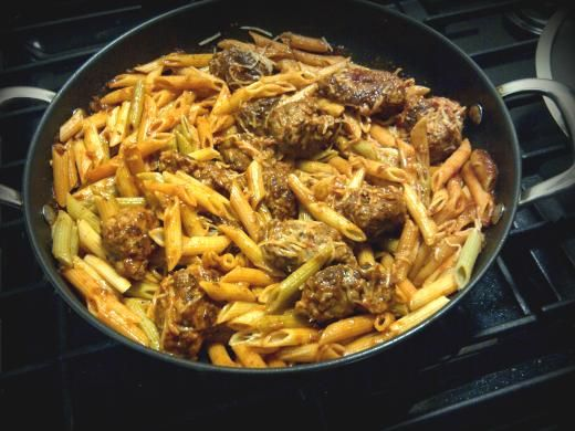 Our Meal of the Day for April 11 is this delicious Penne Pasta with Spicy Italian Sausage Meatballs!