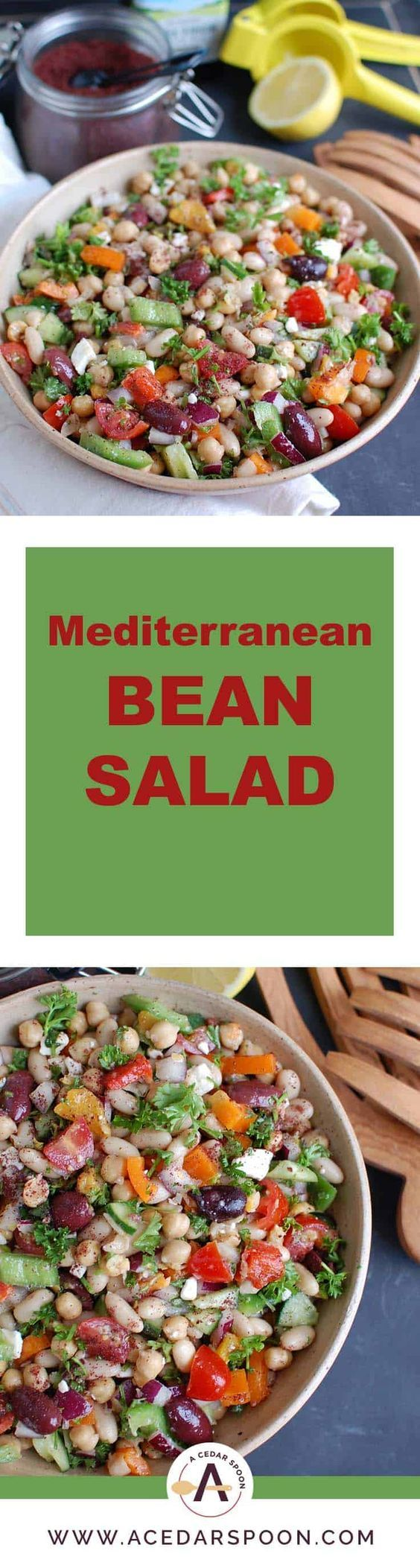Mediterranean Bean Salad packs chickpeas, white beans, your favorite Mediterranean vegetables and feta cheese into one healthy salad and is topped with a light lemony dressing. This works perfectly as a side dish to a meal or even as lunch with pita bread and hummus.