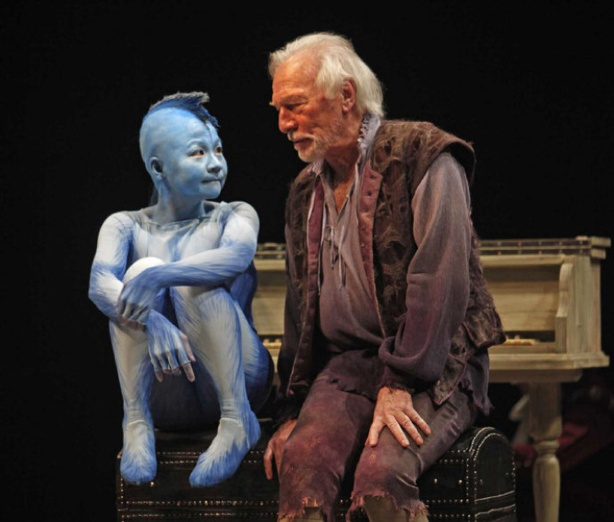 Christopher Plummer as Propsero and Julyana Soelistyo as Ariel in The Tempest, Stratford Shakespeare Festival, 2010.