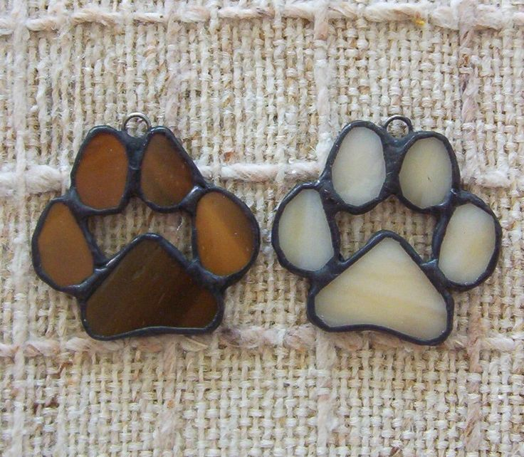 Paw print ornaments set of 2 stained glass paws for cat or dog by Faithlady on Etsy