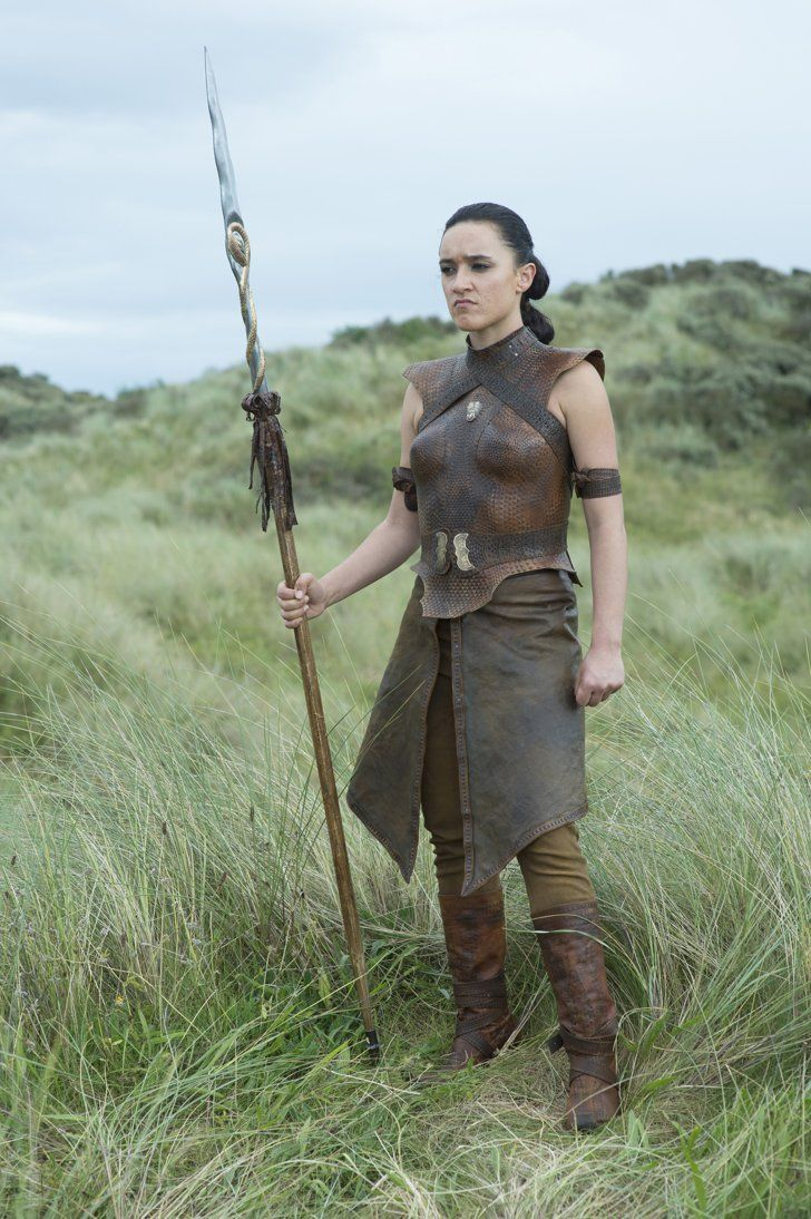 Pin for Later: Game Of Thrones Style More Shocking Than The Finale A Poised Sand Snake Obara Sand displays her spear and leather armour.