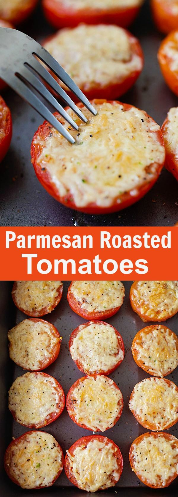 Parmesan Roasted Tomatoes – juicy and plump roasted tomatoes loaded with Parmesan cheese. So easy to make, fool-proof and amazing | rasamalaysia.com