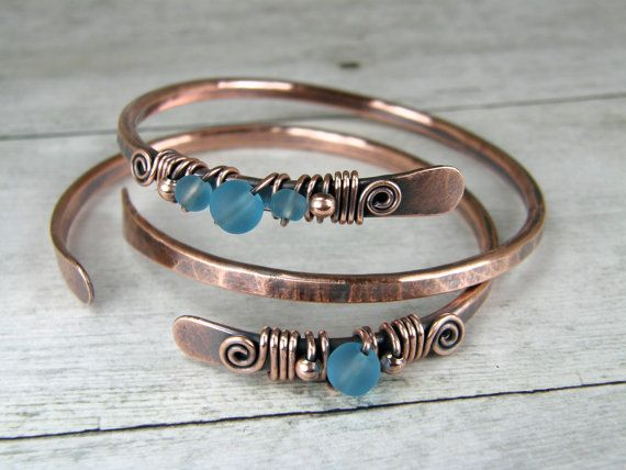 Copper Bracelets & Blue Frosted Glass , Set of Two, 2 Hammered Copper Bangles, Wire Wrapped Bracelets, Stacking Bangles