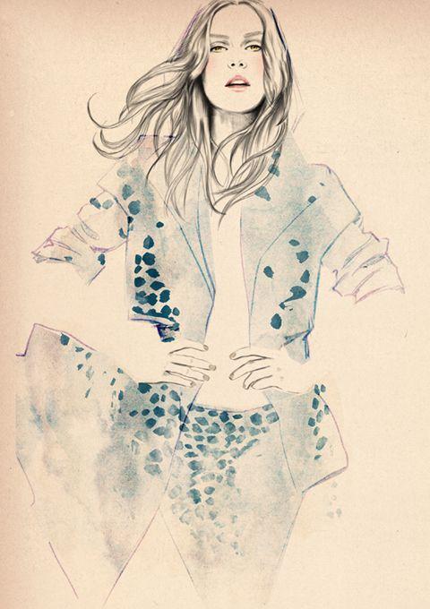 Watercolour fashion illustration - beautiful fashion drawing // Sandra Suy