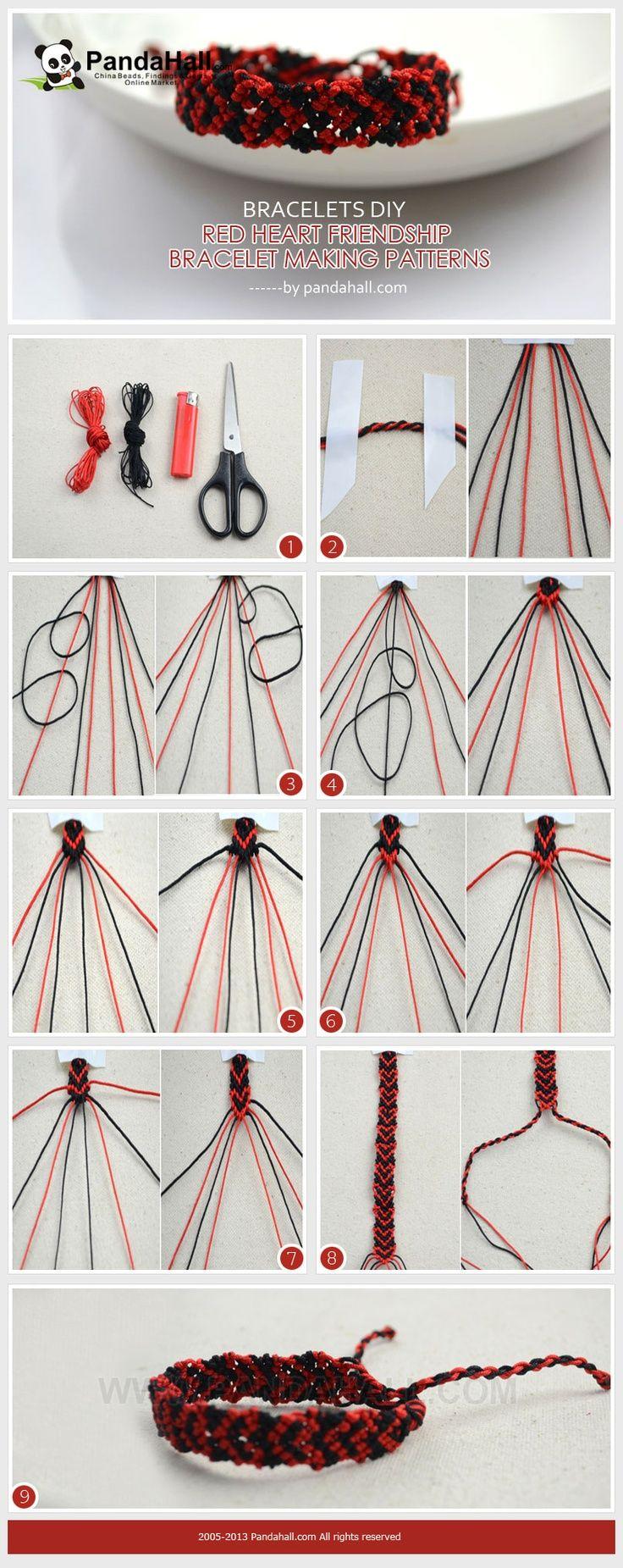 Jewelry Making Idea—how To Make Red Heart Pattern Friendship Bracelet In  The Bracelets Diy